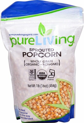 Pure Living  Organic Sprouted Popcorn Kernels Perspective: front