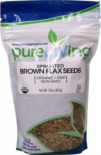 Pure Living Organic Sprouted Brown Flax Seeds Perspective: front