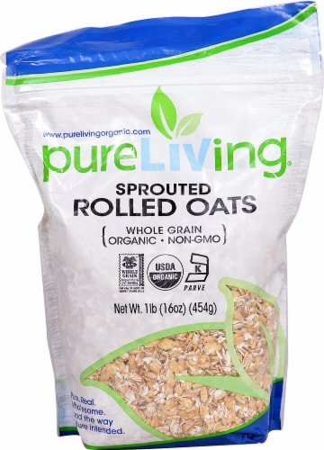 Pure Living Organic Sprouted Rolled Oats Perspective: front
