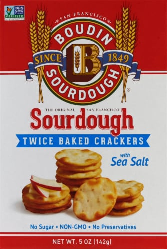 Boudin Sourdough Twice Baked Sea Salt Baked Crackers Perspective: front