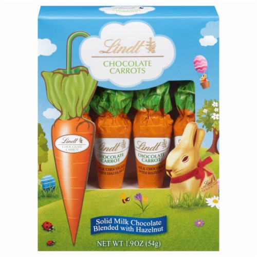 Lindt Solid Milk Chocolate with Hazelnut Carrots Perspective: front