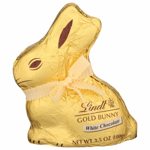 Lindt White Chocolate Gold Bunny Perspective: front