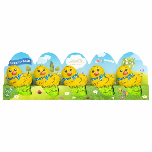 Lindt Milk Chocolate Mini Chicks 5 Count Perspective: front