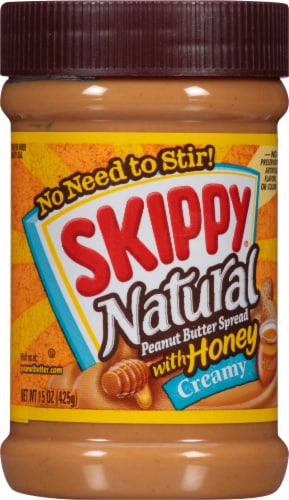 Skippy Natural Creamy Peanut Butter Spread with Honey Perspective: front