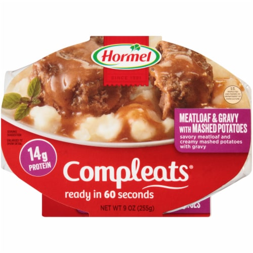 Hormel Compleats Meatloaf & Gravy with Mashed Potatoes Perspective: front