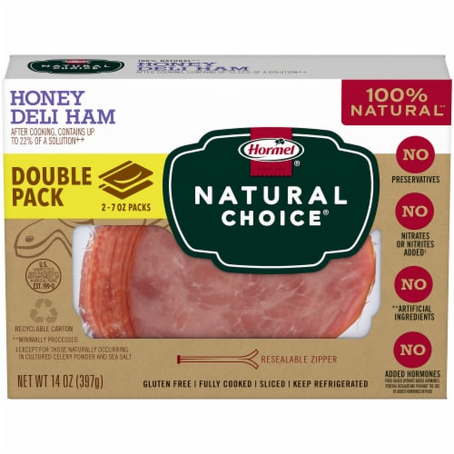 Hormel Natural Choice Sliced Honey Deli Ham 2 Count Perspective: front