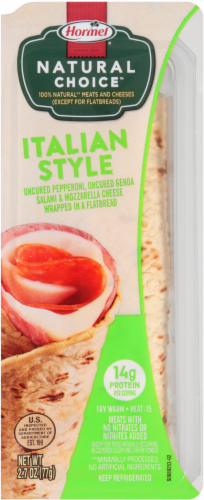 Hormel Natural Choice Italian Style Pepperoni Salami & Mozzarella Wrapped in Flatbread Perspective: front