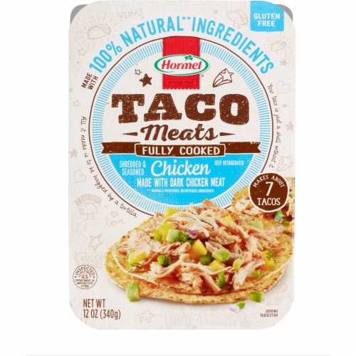 Hormel Shredded & Seasoned Chicken Taco Meat Perspective: front