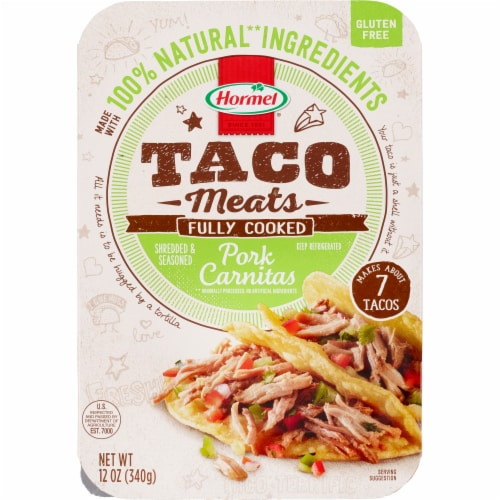 Hormel Pork Carnitas Fully Cooked Taco Meat Perspective: front