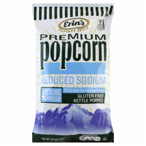 Erin's Premium Reduced Sodium Kettle Popped Popcorn Perspective: front