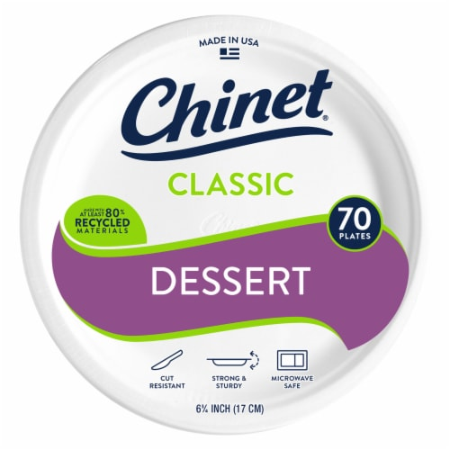 Chinet Classic White Appetizer and Dessert 70-Pack Paper Plates Perspective: front