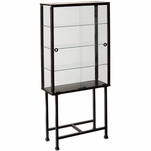 Southern Enterprises Metal-Glass Sliding Door Display Cabinet in Black Perspective: front