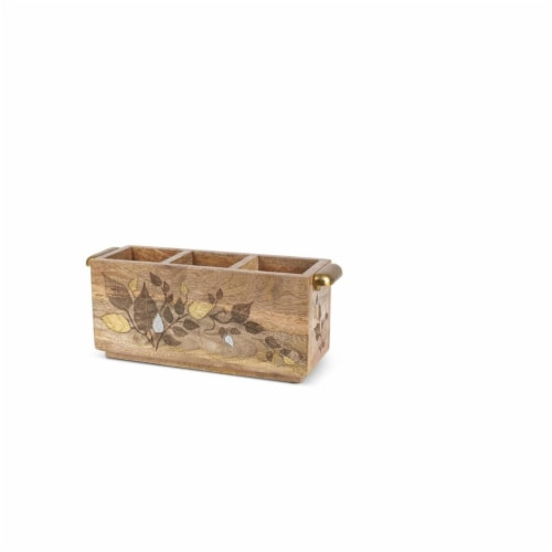 GG Collection 15.5 x 6.25 x 7.5 in. Mango Wood Flatware Caddy, Inlay Leaf Design Perspective: front