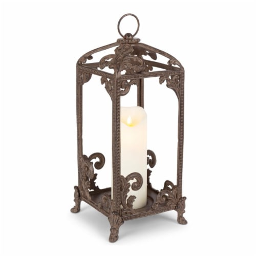 GG Collection 95168 Tall Brown Metal Acanthus Leaf Lantern Perspective: front