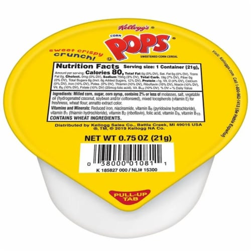 Cereal Corn Pops Single Serve 96 Case 0.75 Ounce Perspective: front