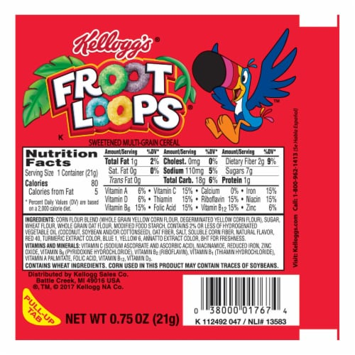 Kelloggs Froot Loops Simple Serve Cereal, 0.75 Ounce -- 96 per case Perspective: front