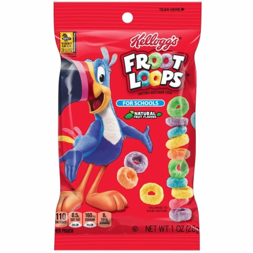 Kelloggs Froot Loops For Schools Cereal, 1 Ounce -- 96 per case. Perspective: front