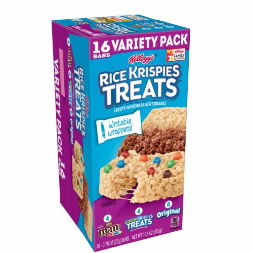 Rice Krispies Treats M&Ms Cocoa & Original Marshmallow Square Bars Variety Pack 16 Count Perspective: front