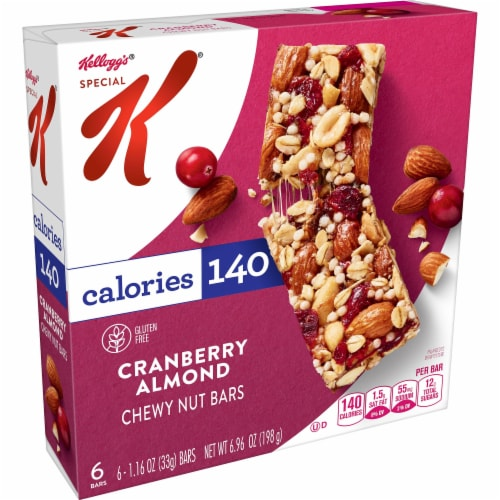 Kellogg's Special K Chewy Nut Bars Gluten Free Cranberry Almond Perspective: front