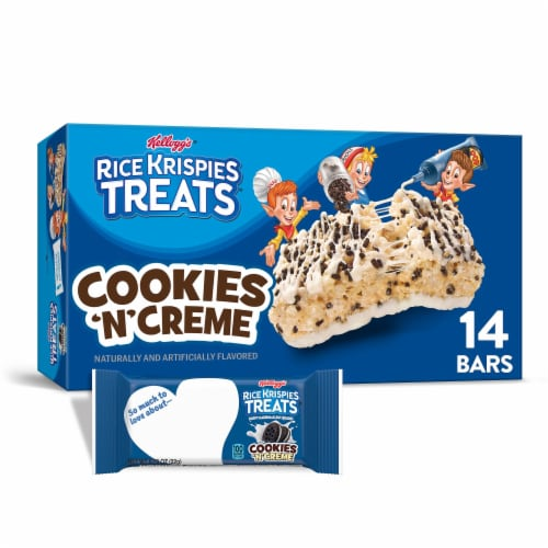 Kellogg's Rice Krispies Treats Marshmallow Squares Bars Cookies 'N' Creme Perspective: front