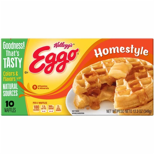 Kelloggs Eggo Homestyle Waffles, 12.3 Ounce -- 8 per case. Perspective: front
