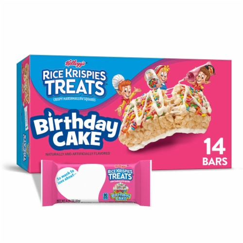 Kellogg's Rice Krispies Treats Marshmallow Squares Bars Birthday Cake Perspective: front