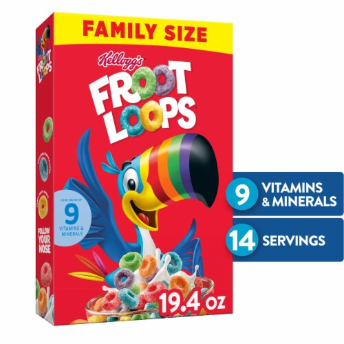 Froot Loops Cereal Family Size Perspective: front