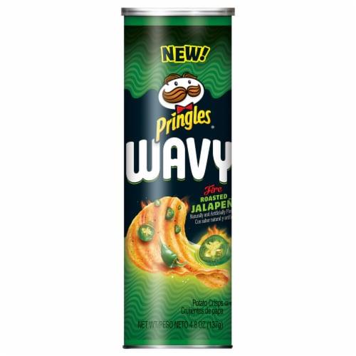 Pringles Wavy, Potato Crisps Chips - Fire-Roasted Jalapeno Perspective: front