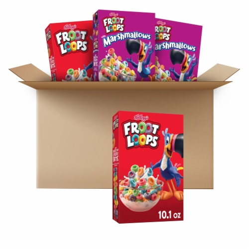 Froot Loops & Froot Loops with Marshmallows Cereal Perspective: front
