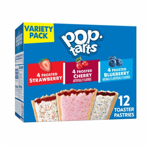 Pop-Tarts Frosted Strawberry Cherry & Blueberry Toaster Pastries Variety Pack Perspective: front