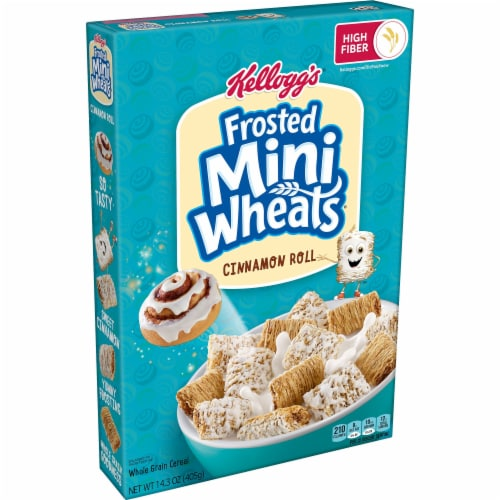 Kellogg's Frosted Mini Wheats Breakfast Cereal Cinnamon Roll Perspective: front