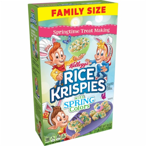 Rice Krispies with Spring Colors Cereal Family Size Perspective: front