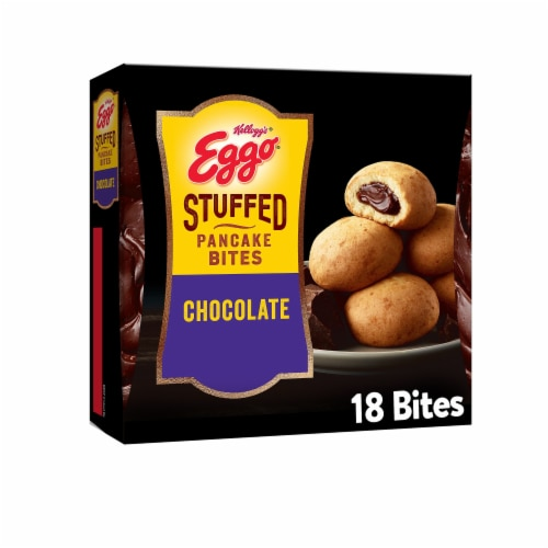 Eggo Frozen Breakfast Chocolate Stuffed Pancake Bites Perspective: front