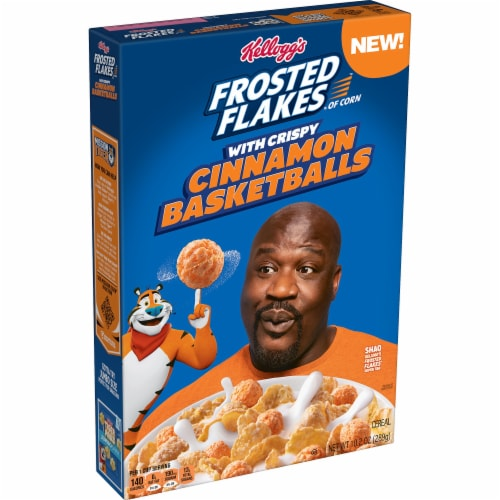 Frosted Flakes with Crispy Cinnamon Basketballs Cereal Perspective: front