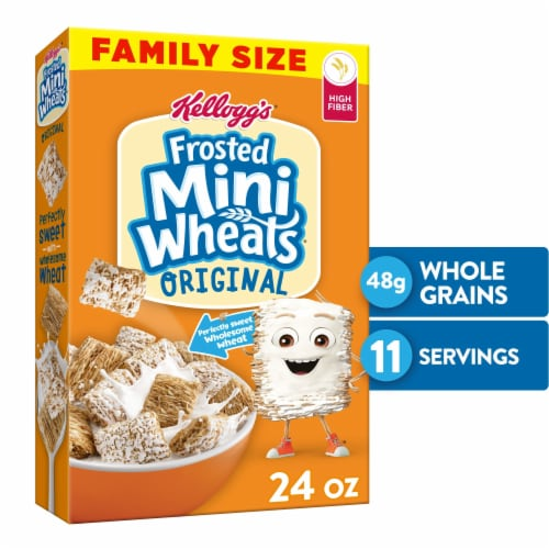 Kellogg's Frosted Mini-Wheats High Fiber Original Breakfast Cereal Perspective: front