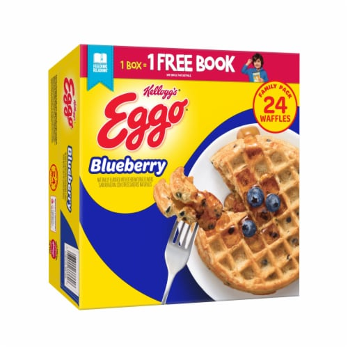 Eggo Frozen Breakfast Waffles Blueberry Family Pack Perspective: front