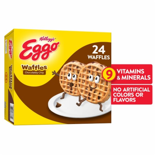 Eggo Frozen Breakfast Waffles Chocolatey Chip Family Pack Perspective: front