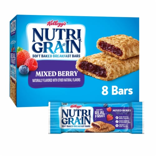 Kellogg's Nutri-Grain Soft Baked Breakfast Bars Mixed Berry Perspective: front