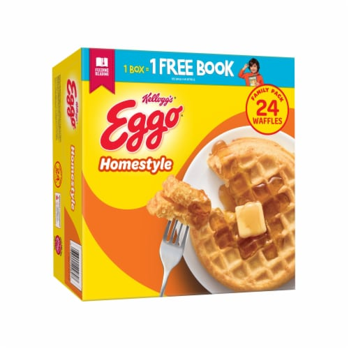 Kellogg's Eggo Frozen Breakfast Waffles Homestyle Family Pack Perspective: front