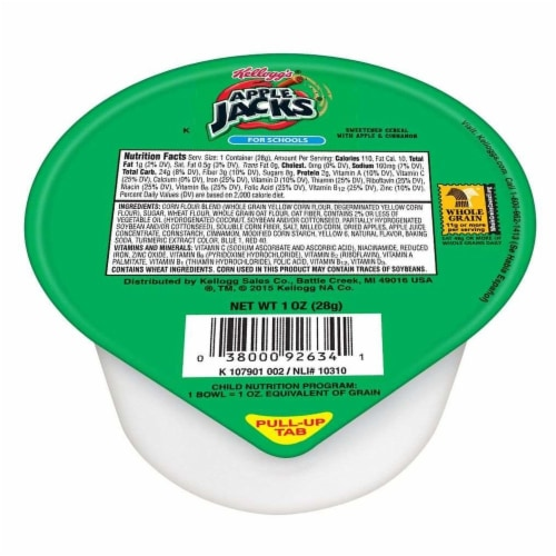 Kelloggs Apple Jacks Reduced Sugar Whole Grain Cereal, 1 Ounce Bowl -- 96 per case. Perspective: front