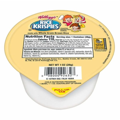 Kelloggs Rice Krispies Whole Grain Cereal, 1 Ounce -- 96 per case. Perspective: front
