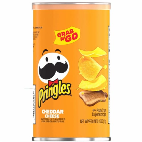 Pringles Cheddar Cheese Grab and Go Potato Crisps Perspective: front