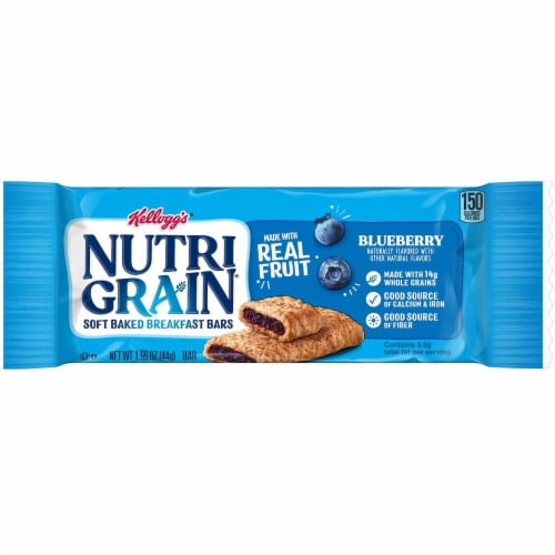 Kelloggs Nutrigrain Blueberry Cereal Bar, 1.55 Ounce -- 96 per case. Perspective: front