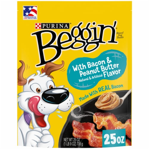 Beggin' Strips Bacon & Peanut Butter Flavor Dog Treats Perspective: front