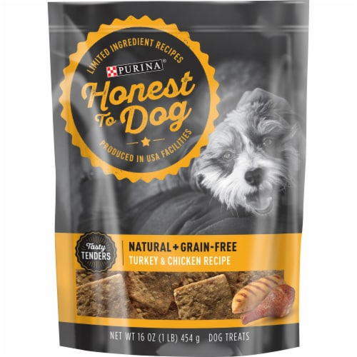 Honest to Dog Turkey & Chicken Recipe Dog Treats Perspective: front