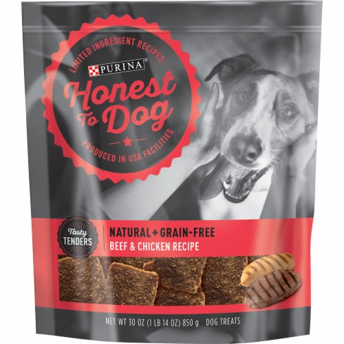 Honest to Dog Beef & Chicken Recipe Dog Treats Perspective: front