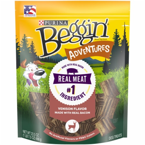 Beggin' Adventures Venison Flavor Dog Treats Perspective: front
