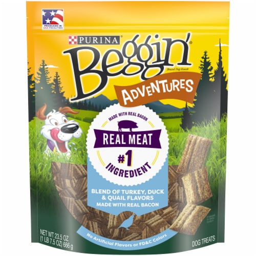 Beggin' Adventure Turkey Duck & Quail Flavored Dog Treats Perspective: front