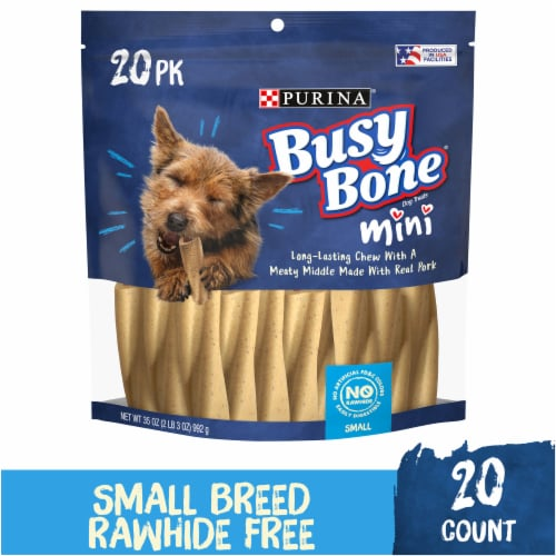 Busy Bone Mini Long-Lasting Chew Small Dog Treats 20 Count Perspective: front