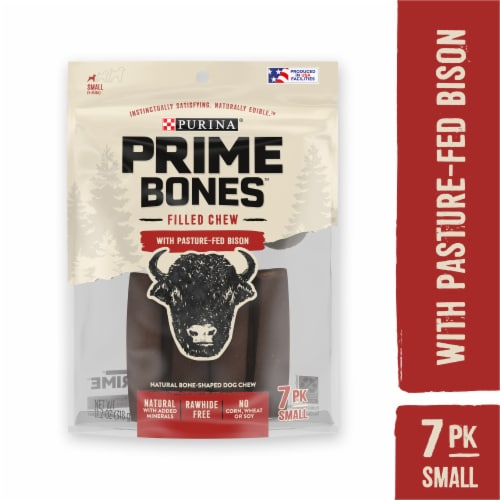 Purina Prime Bison Bones Chew Stick Dog Treats Perspective: front